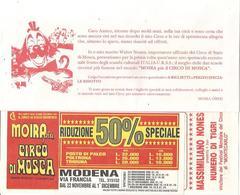 Moira Orfei, Busta Invito Spettacolo Circo Orfei Unito Al Circo Di Mosca A Modena, Contiene 5 Biglietti Ingresso. - Biglietti D'ingresso