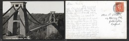 England, Bristol, Clifton Suspension Bridge,used, 2d,  BYFLEET SOMERSET 24 JY 50 > Bedford - Bristol