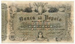 100 LIRE BANCA DEL POPOLO DI FIRENZE REGNO D'ITALIA 1879 MB/BB - Altri