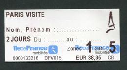 """Ticket De Métro / Bus RATP / SNCF """"Paris Visite 2 Jours / Zone 1 à 5 / Ile-de-France Mobilités"""" Ile-de-France - Métro"""