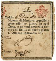 18 LIRE CEDOLA MONETATA DUCATO DI MANTOVA 06/10/1796 BB - Italia