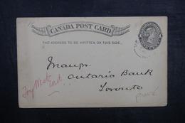 CANADA - Entier Postal Commercial ( Banque De Montréal ) Pour Toronto En 1894 - L 40613 - 1860-1899 Regering Van Victoria