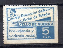 Viñeta Consejo Provincial De Toledo 5cts - Viñetas De La Guerra Civil