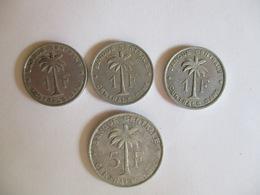 Congo Belge 1 Franc 1957, 1959, 1960 & 5 Francs 1958 - Congo (Belga) & Ruanda-Urundi