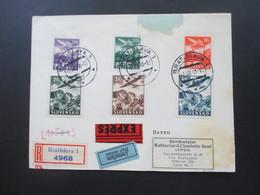 Slowakei 1939 Flugpostmarken Nr. 48 - 53 Satzbrief Einschreiben / Expressbrief / Luftpost Donaupost OKW Zensur - Cartas