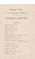 CATALOGUE  Annee 1922 ,,,, VENTES  D'ART ,,,, PARIS ,,,PEINTURES, SCULPTURES , DESSINS ,,,PARMI LES PLUS GRANDS,,,, - Autres Collections