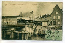 BELGIQUE FURNES Carte RARE M.M Br 19- Train Tramway Nieuport Brug 1921 Timbrée    /D20-S2017 - Veurne