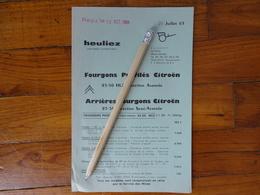 CAMION FOURGON  CITROEN 23 50 HLZ  DIRECTION AVANCEE  CARROSSERIE HEULIEZ TARIF VENTE 1963 4 PAGES 13.5 X 20 5 CM - Trucks