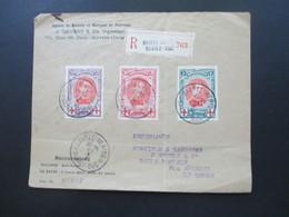Belgien 1915 Rotes Kreuz III Nr. 110 - 112 Satzbrief Einschreiben Baarle Hertog Baarle Duc - London über Le Havre - 1914-1915 Red Cross