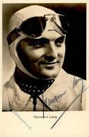 Motorsport Hermann Lang Mit Unterschrift Foto AK I-II - Ansichtskarten