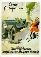 Auto Lernt Autofahren Kraftverkehr Bayern Künstler-Karte I-II (Stauchung) - Ansichtskarten