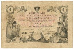 1 FIORINO PADOVA CERTIFICATO IMPERIALE REGIO MONTE VENETO 01/09/1866 BB - Italia