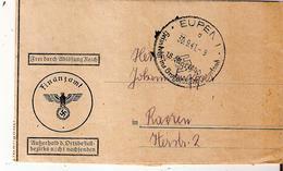 """CANTONS De L'EST - Document """"FINANZAMT"""" D'EUPEN Du 30/9/1941 Vers RAEREN Avec étiquette (voir Verso) - Brieven"""