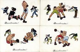 BOXEN - 4er-Künstler-Serie BOXERFREUDEN - Sign. E.Kutzer I-II - Boxsport
