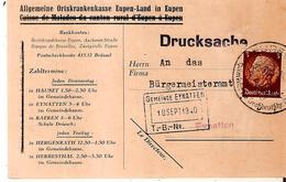 CANTONS De L'EST - Drucksache EUPEN Du 17/9/1940 Vers Gemeinde EYNATTEN - Brieven
