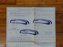 PEUGEOT  CITROEN RENAULT 1000 KG PLAN FICHE  PAVILLON ELEMENTS EMBOUTIS STANDARD GRAPPIN ANNAT HOUILLES 1966 - Trucks