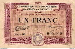 7019-2019    BILLET CHAMBRE DE COMMERCE DE GRAY ET VESOUL - Chambre De Commerce