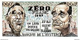 454-2019   BILLET DE 0 FRANC  HUMORISTIQUE  BANQUE DE L AUSTERITE LA VO L HEBDO CGT - Specimen