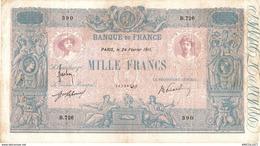 491-2019   BILLET DE 1 000 FRANCS BLEU ET ROSE DU 24-02-1911 - 1871-1952 Anciens Francs Circulés Au XXème