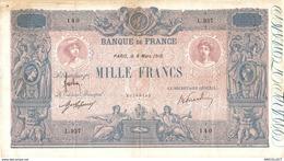 493-2019   BILLET DE 1 000 FRANCS BLEU ET ROSE DU 08-03-1916 - 1 000 F 1889-1926 ''Bleu Et Rose''