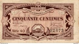 1304-2019     CHAMBRE DE COMMERCE DE BORDEAUX 50 CENTIMES - Camera Di Commercio