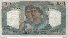 5554 -2019     BILLET  1000F MINERVE  2-3-1950 - 1871-1952 Antichi Franchi Circolanti Nel XX Secolo