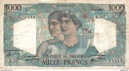 5559 -2019     BILLET  1000F MINERVE6-12-1945 - 1871-1952 Antichi Franchi Circolanti Nel XX Secolo
