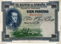 9591  -2018     BILLET DE 100 PESETAS 1925 - [ 1] …-1931 : Prime Banconote (Banco De España)