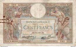 9840  -2018   BILLET FRANCAIS 100F LUC OLIVIER MERSON 6-4-1939 - 100 F 1908-1939 ''Luc Olivier Merson''