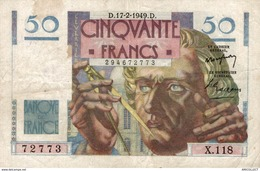 9841  -2018   BILLET FRANCAIS 50F LE VERRIER  17-2-1949 - 1871-1952 Circulated During XXth