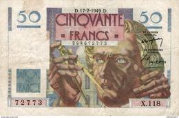 9841  -2018   BILLET FRANCAIS 50F LE VERRIER  17-2-1949 - 1871-1952 Antiguos Francos Circulantes En El XX Siglo