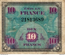 9859  -2018   BILLET FRANCAIS  10F  VERSO DRAPEAU   SERIE DE 1944     SERIE DE - Francia
