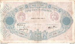 9956 -2018  BILLET 500FRANCS BLEU ET ROSE  LE9 MARS 1939 - 1871-1952 Antichi Franchi Circolanti Nel XX Secolo