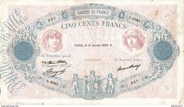9957 -2018  BILLET 500FRANCS BLEU ET ROSE  12 JANVIER 1933 - 1871-1952 Antichi Franchi Circolanti Nel XX Secolo