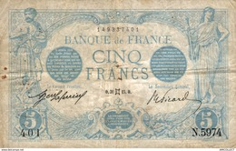 9972  -2018   BILLET FRANCAIS  5 FRANCS 31 MAI 1915 - 1871-1952 Circulated During XXth
