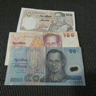 3 Banknotes Thailand 10, 50 And 100 Baht - Mezclas - Billetes