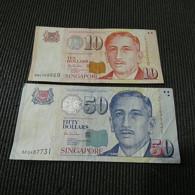 2 Banknotes Singapore 50 + 10 Dollars - Mezclas - Billetes