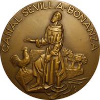 ESPAÑA. MEDALLA F.N.M.T. INAUGURACIÓN CANAL SEVILLA-BONANZA. 1.977. BRONCE. ESCASA. ESPAGNE. SPAIN MEDAL - Professionals/Firms