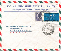 Italy Air Mail Cover Sent To Sweden Torino 15-7-1963 Bicycle On One Of The Stamps - 6. 1946-.. Republic