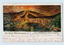 P3X71/ Matinique Vulkan-Ausbruch Mont Pele  St. Pierre 1902 Litho AK Karibik - Postcards