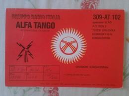 POSTAL POST CARD QSL RADIOAFICIONADOS RADIO AMATEUR GRUPPO ALFA TANGO ITALIA KIRGHIZISTAN KIRGHIZSTAN KIRGUISTÁN FLAG - Tarjetas QSL