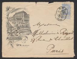 """Fine Barbe - N°60 Sur Lettre Illustrée """"Hotel Continental"""" De Spa (1900) Vers Paris. - 1893-1900 Fine Barbe"""