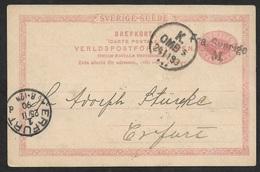 1890 - SWEDEN SEEPOST - Stationery Card Mi. P20 FRA SVERIGE M - MALMÖ To ERFURT - Schweden