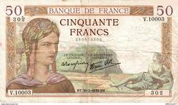 7380-2019    BILLET  DE  50 F CERES  DU  30-3-1939 - 1871-1952 Antichi Franchi Circolanti Nel XX Secolo