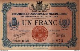 8620  -2019     BILLET CHAMBRE DE COMMERCE DE   MENDE - Chambre De Commerce