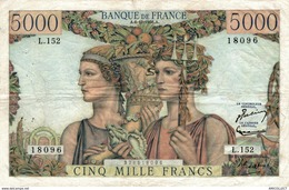 1425-2019   BILLET 5 000 FRANCS  TERRE ET MER 6-12-1956 - 1871-1952 Gedurende De XXste In Omloop