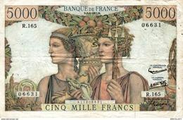 1426-2019   BILLET 5 000 FRANCS  TERRE ET MER 6-6-1957 - 1871-1952 Gedurende De XXste In Omloop