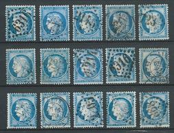 FRANCE 1871/74 . Lot De 15 Cérès N° 60A Et 60C Oblitérés . - 1871-1875 Cérès