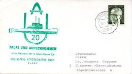 """(UB) BRD Umschlag Mit Cachet-Zudruck """"U-BOOT """"U20 S199"""" Taufe Und Aufschwimmen """" EF BRD Mi 689 TSt 16.1.1973 EMDEN 1 - U-Boote"""