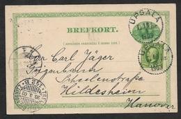 1903 - SWEDEN SEEPOST - SCHIFFSPOST - PSC Uprated 5c UPSALA To HILDESHEIM - TRELLEBORG - SASSNITZ - Schweden
